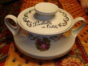 Magnifique POUBELLE de TABLE en porcelaine