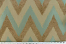 Drapery Upholstery Fabric Chenille Jacquard Chevron Ikat Design - Turquoise