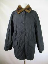 F3455 Lauren Ralph Lauren Women's Button Down Quilt Fur Collar Jacket Size M