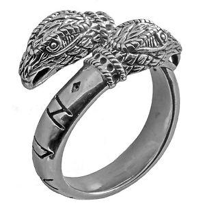 Odins Raben Ring mit Runen 925 Silber Gr: 65-75 Maxi Runen Wikinger Hugin Munin