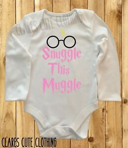 HARRY POTTER SNUGGLE THIS MUGGLE /GLASSES PINK BABY VEST/ GROW  BODYSUIT ROMPER