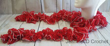 Handmade Crocheted Fashion Ruffle Scarf - Red Hot