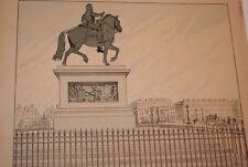 JOB- HENRI IV GRAVURE DESSIN  HERMANT 1894 STATUE EQUESTRE A PARIS