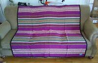 Pendleton Southwest  Wool Blend Blanket Purple Teal Tan Hunter Green  60 x 78