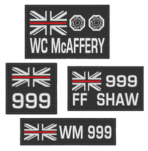 EMBROIDERED  CHOICE OF THIN RED LINE FIRE SERVICE PATCHES WITH CUSTOM OPTIONS