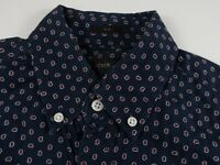 J Crew Mens Cotton LS Button Down Navy Blue Red Abstract Dress Shirt Size XS