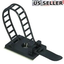 """25x Adjustable Adhesive Cable Straps Cord Management Tie Mount Clips 1.0"""" Black"""