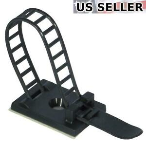 "25x Adjustable Adhesive Cable Straps Cord Management Tie Mount Clips 1.0"" Black"