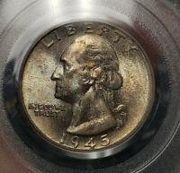 1945-S 25c Silver Washington Quarter - Pastel Toning - OGH PCGS MS 65 - #Z636