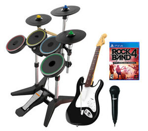 PS4 PS5 Rock Band 4 *Drums Set*3X Pro-Cymbals*Fender Strat Guitar*Strap*Mic*Game