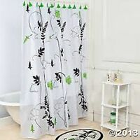 Elegant Black White Floral Green Flower Shower Curtain &12 Hooks Set Bath Decor
