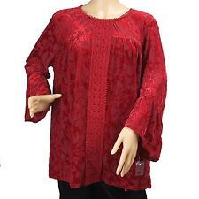 Women's Red Floral Lace Long Sleeve Blouse Top John Paul Richard Size L New