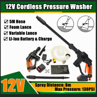 Variable Lance Cordless Battery Pressure Washer Foam Lance Cleaner Gun + 5m Hose