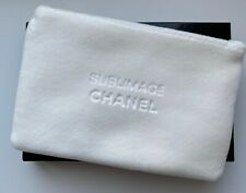 CHANEL COSMETIC/MAKEUP BAG POUCH CLUTCH white velvet sublimage RARE VIP GIFT