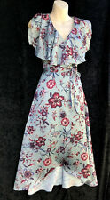 LEONA EDMISTON Winter Floral Flutter Sleeve Wrap Dress sz 8 NWT Rrp $189.95