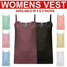 Womens Vest Camisole Cami Cotton Womens Top Neck Design Lace Trim Tank Strappy
