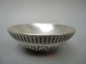 Collecting China Ancient Tibet Silver Carving Dragon 福 Bowl Cup Water Washing