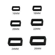 New PVC Rubber Black Watch Strap Buckle Keeper Hoop Loop Holder Retainer Rings.