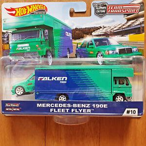 Hot Wheels TEAM TRANSPORT #10 MERCEDES-BENZ 190E & FLEET FLYER - FALKEN TIRES *