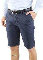 Bermuda Uomo Cotone Slim Fit Blu Jeans Pantalone Corto Shorts Pantaloncini Casua