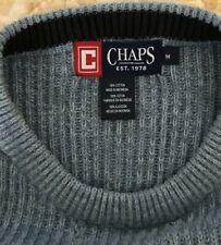 Mens Medium Cable Knit Blue Sweater Cotton Ralph Lauren Chaps Quality Comfort