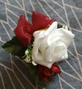 6 beautiful  White  roses with Burgundy Bows buttonhole wedding flowers bouquet