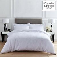 Catherine Lansfield So Soft Stripe Modern Hotel Duvet Cover Set Or Sheets White
