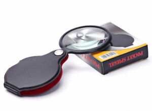 Portable Useful Folding Glass Lens Cortical Magnifier Loupe With Leather Pouch