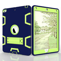 For New iPad 9.7 2017 Hard Hybrid PC Silicone Armor Stand Shockproof Case Cover