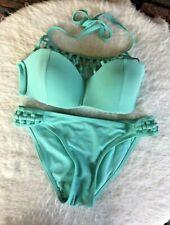 Small Cage Neck Side Bathing Suit Green Padded Top TiniBikini Strappy Bikini