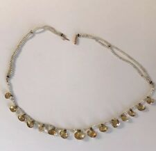 Victorian 15k Gold Natural Seed Pearl Citrine Necklace