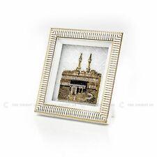 3D Diamonds Kaaba View Gold White Islamic Hanging / Stand Frame Turkish 18x20cm