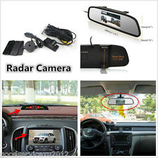 Car Rearview Mirror Backup Monitor & 120° Wide Angle Camera With Reversing Radar