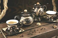 Unique Pottery Coffee set with Hand Painted Decoration,Ceramics set, Wedding Gif