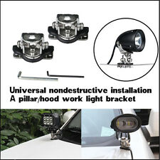 2X  LED Light Bracket Clamp Kit Stainless Steel Car Off-Road A Pillar Hood Mount