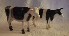 Lot of 2 Black White Spotted Bull & Cow Farm Animal Plastic