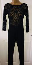 black lace top long sleeve slim leg Jumpsuit Size 8