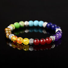 7 Chakra Stone Bead Mala Bracelet Reiki Yoga Healing Beaded Boho Bangle Jewelry