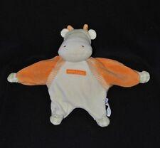 Peluche doudou hippopotame SUCRE D'ORGE vert orange 25 cm TTBE