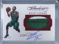 2015-16 Panini Flawless Ruby /15 Evan Turner #PA-ET Patch Auto