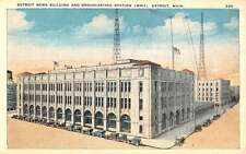 Detroit Michigan News Broadcasting Station Street View Antique Postcard K32242