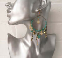 Pretty boHo 10cm long vintage gold tone & turquoise bead & charm drop earrings
