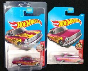 Hot Wheels 2017 Super Treasure Hunt '63 Chevy II HW Flames Red Pink New 1963 Car