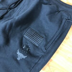 Under Armour Project Rock Joggers MENS Size Large Black Training Pants Flag NWT