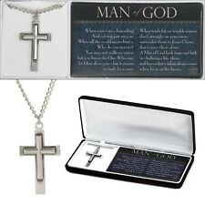 "Man of God Cross Necklace Pewter - On 20"" Stainless Steel Chain, by Dicksons"