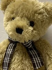 "Animal Alley Light Brown Teddy Bear 16"" Plush Plaid Bow Vintage 2000 Toys R Us"