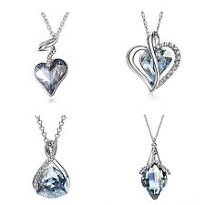 Made With Sparkly Shiny Silver Blue Swarovski Crystal Necklace Pendant Jewellery