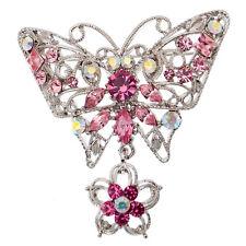 Butterfly Flower Dangle Pin Brooch Rhinestone Pink Silver Jewelry Vintage Design