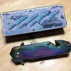 """Duck Titanium Coated Tactical 3 3/4"""" Knife w/Clip, Glass Break, Cutter DK636ARTC"""