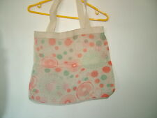 Cream Orange Turquoise Billy Bag London Tote Bag  sheer florals 70's style vgc